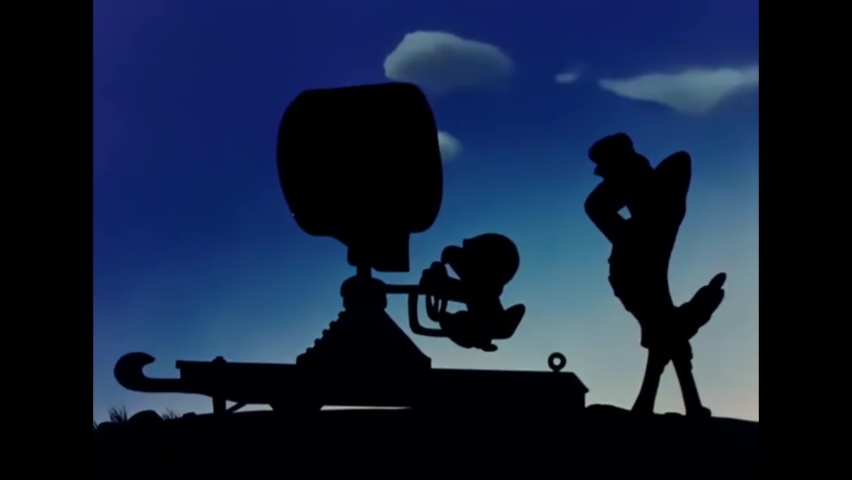 CIRCA 1943 - In this animated film, paratrooper Daffy Duck lands behind enemy lines and makes hand shadow puppets using a Nazi searchlight.