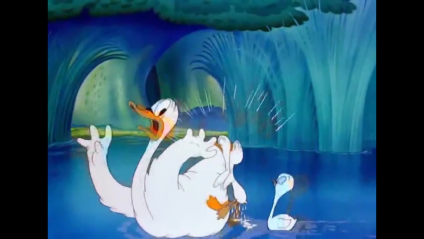 CIRCA 1943 - In this animated film, Elmer Fudd introduces a Blue Danube segment where a black duckling tries to swim with white swans.