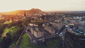 Aerial View Shot of Edinburgh UK, Edinburgh Castle, Old Town, Scotland, United Kingdom
