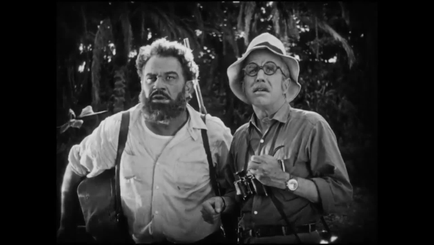 CIRCA 1925 - In this silent adventure movie, a brontosaurus destroys the tree that explorers had planned to use as a bridge over a chasm. | Shutterstock HD Video #1060936336