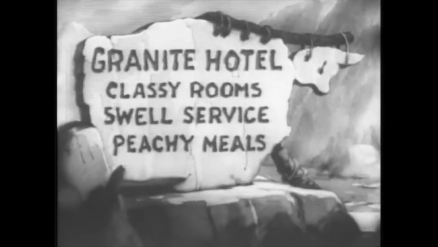 CIRCA 1940 - In this animated film, a paper boy shouts headlines outside a stone age hotel.