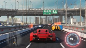 Speed Rasing 3d Video Game Imitation With Interface. Sports Cars Compete On The City Bridge Road. Gameplay Screen.
