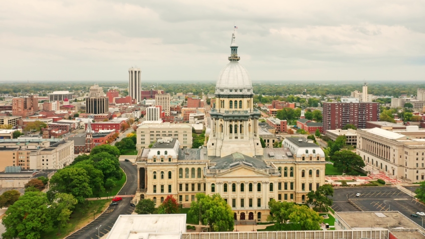 Drone rotation around Illinois State Capitol. The Illinois State Capitol, in Springfield, Illinois, houses the legislative and executive branches of the government of the U.S. state of Illinois | Shutterstock HD Video #1060948801