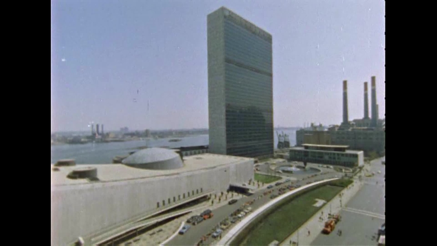 CIRCA 1967 - The US Mission is seen across the street from the United Nations Plaza in New York City, New York.