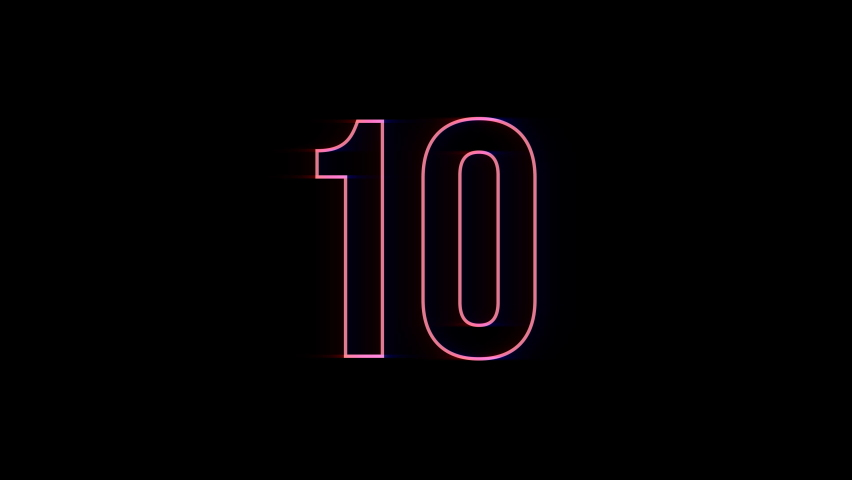 Neon bright glowing countdown timer from 10 to 0 seconds | Shutterstock HD Video #1060949245