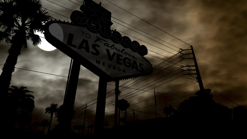 The Welcome to Las Vegas Sign by Night with Dark Atmosphere and Full Moon, Nevada, USA | Shutterstock HD Video #1060951285