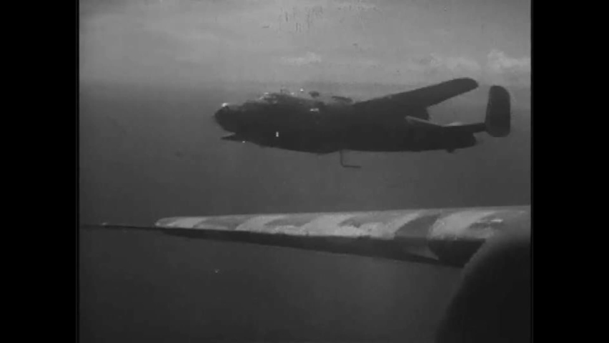 CIRCA 1940s - American airplanes soar over Japan, and DDT is spread on a Japanese island in the 1940s.