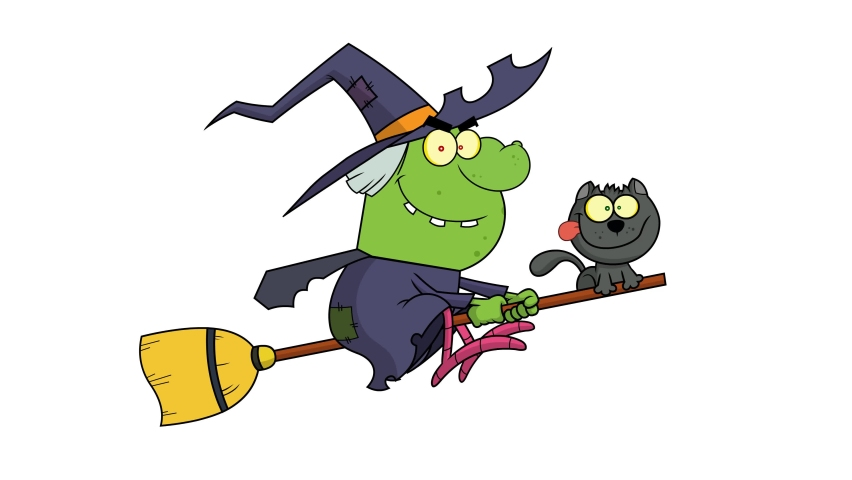Halloween Witch And Cat Flying On A Broom Stick. 4K Animation Video Motion Graphics With White Background | Shutterstock HD Video #1060953235