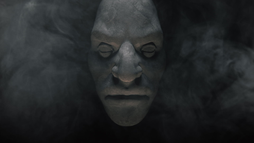 Animation of the appearance of a monster face  from the darkness. Horror scene or Halloween decoration. | Shutterstock HD Video #1060957579