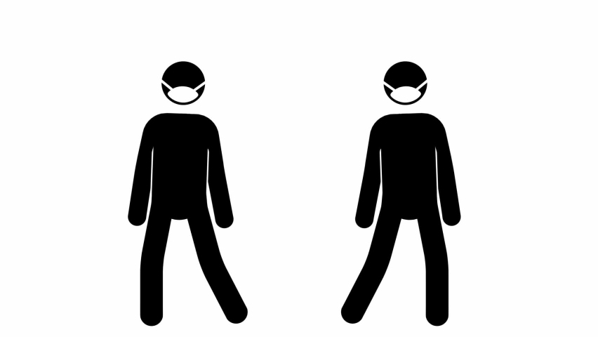 Pictograms steps awayfrom each other, then masks pop.