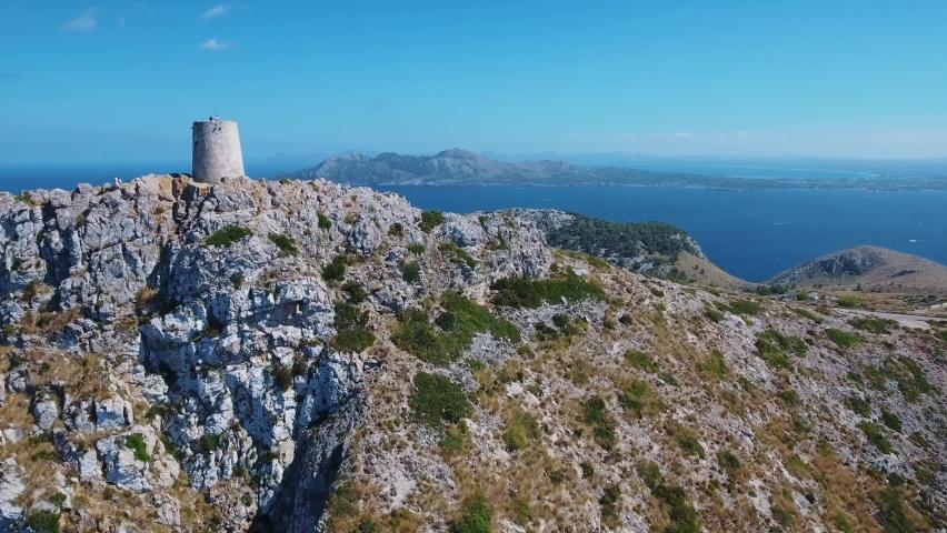 Mallorca Cap de Formentor Talaia d'Albercutx 4k drone footage - Bay of Alcudia - Wide drone view 4k   Shutterstock HD Video #1060975708
