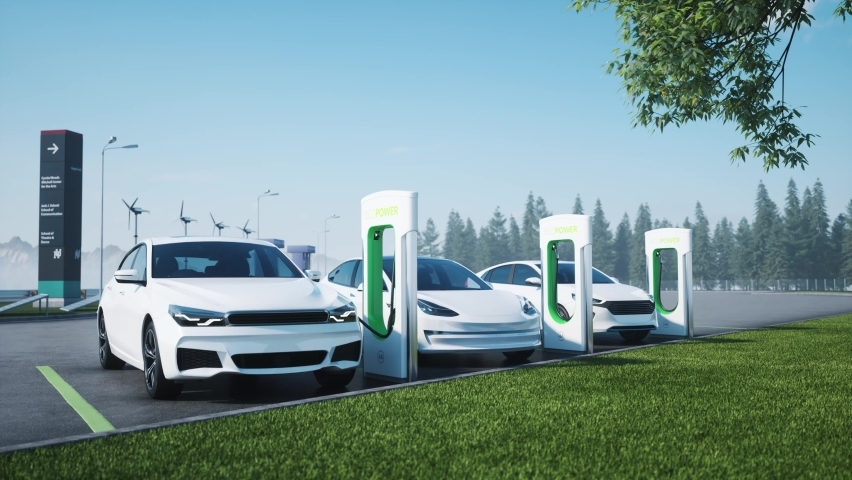 Charge station for electric cars. Electric car charger