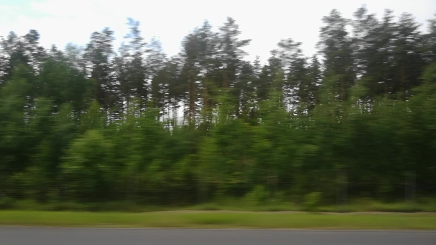 View through side window of car auto in motion on road along the forest in summer. Tourism and travel, journey trip concept. Beautiful nature and landscape. Cloudy weather | Shutterstock HD Video #1060981738