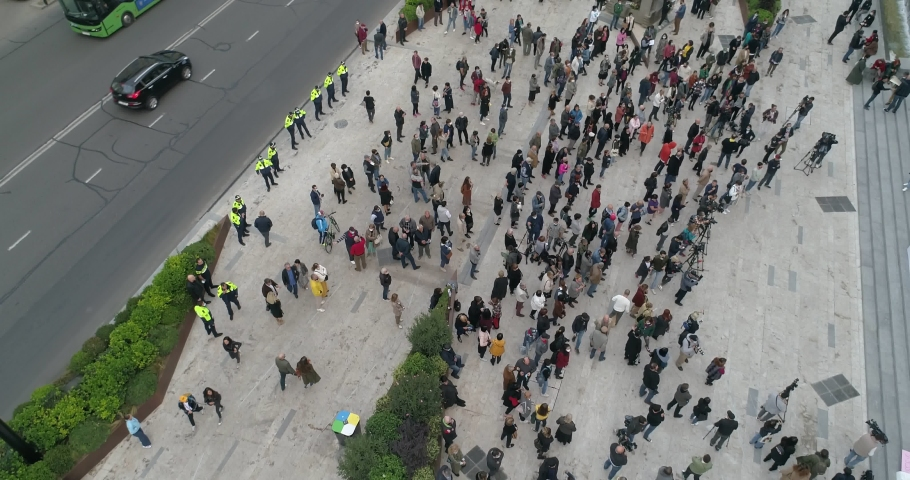 Protesting people and street aerial shot