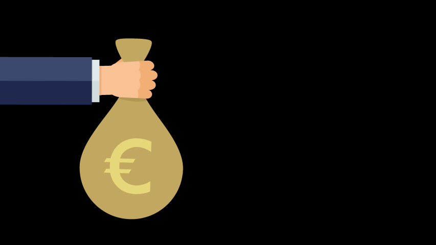 A hand pops up with a bag of euros to present it on a black background and with the alpha channel (flat design)