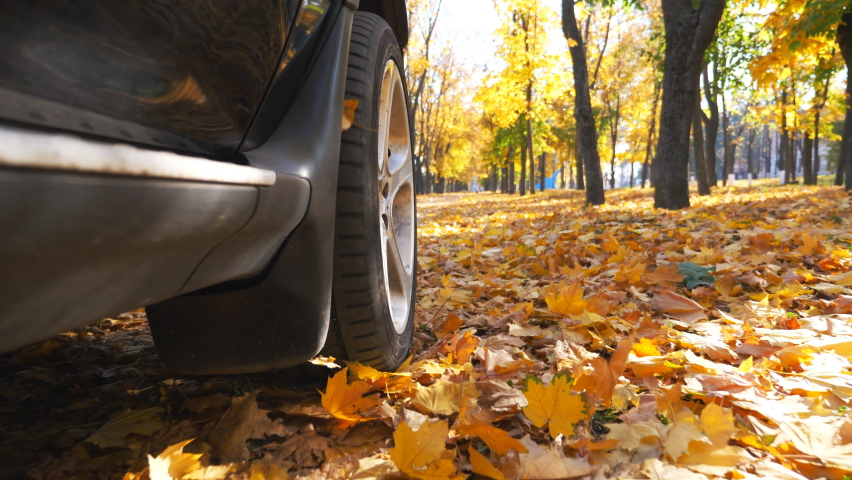 View from side of black SUV driving fast through street over yellow fallen leaves. Powerful car riding along urban autumn park at sunny day. Scenic autumnal environment. Slow motion | Shutterstock HD Video #1060992148