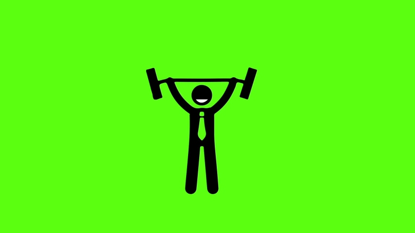 Businessman Icon Exercising On Green Screen  | Shutterstock HD Video #1060992529