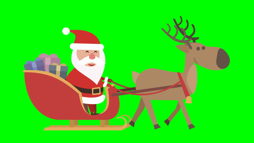 Loop of Santa Claus in his sleigh with his reindeer on the way to distribute the gifts on a green background | Shutterstock HD Video #1060995376