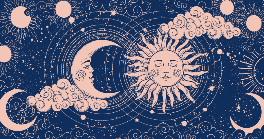 Cartoon background for astrology, tarot, magic and esotericism. Smooth 4K video rendering. Animation of a crescent moon with a face, stars, celestial background. Royalty-Free Stock Footage #1060996342