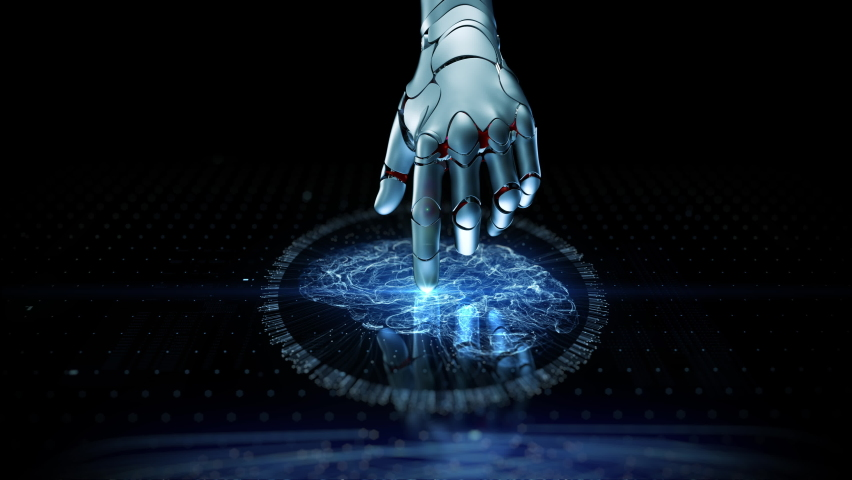 Close-up Artificial Intelligence Concept: Robot Activate Futuristic Web Quantum AI Arm Touch Screen Button. 3D Visualization of Computer Technology Digitalization Brain Abstract Cyber HUD Animation 4k | Shutterstock HD Video #1060996825