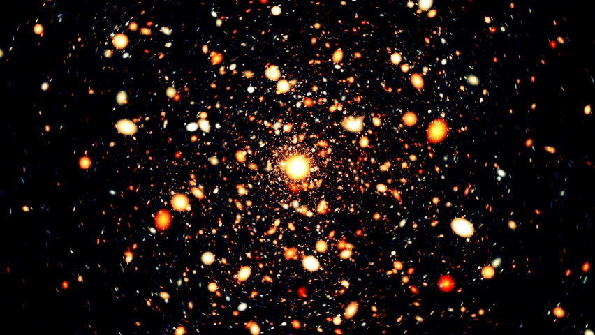 White, orange and dark blue particle spots fly as blizzard around centre on black background. 4k seamless animation loop.   Shutterstock HD Video #1060998298