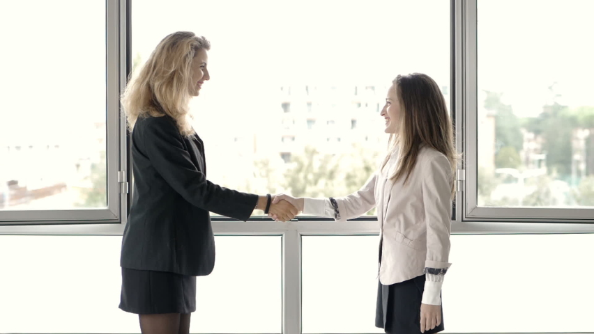 Young businesswoman shakes hands with the new secretary - slow motion | Shutterstock HD Video #1061004712