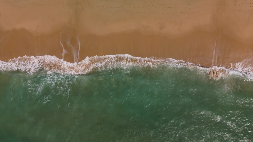 Ocean Waves Rolling And Coming On A Sand Beach. Aerial Top Down Shot, 4K | Shutterstock HD Video #1061007847