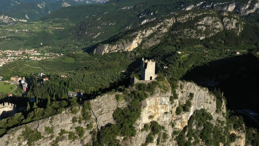 Arco Castle Lake Garda, Italy, Panoramic aerial view of Lake Garda. Riva del Garda | Shutterstock HD Video #1061009494