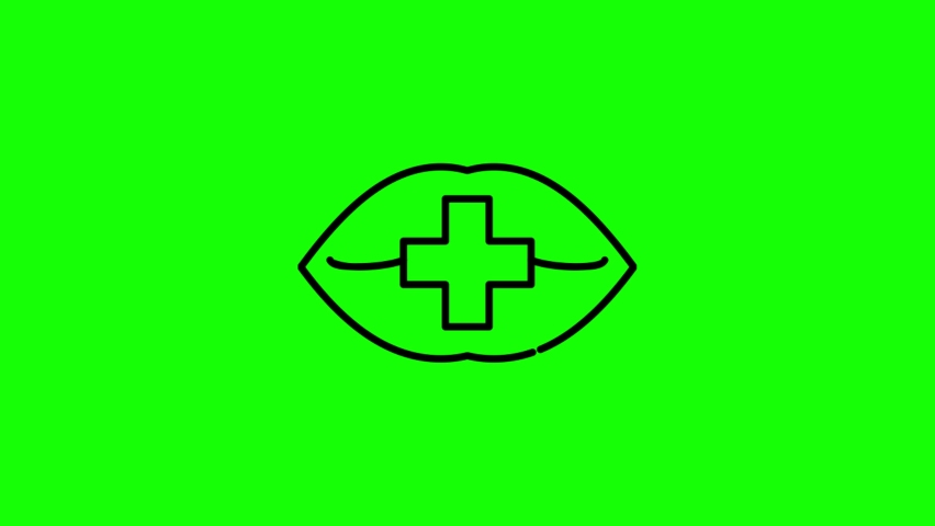 Mouth cross line icon animation on the green screen background.4K video.Chroma key.Useful for website, banner, greeting cards, apps, and social media posts. | Shutterstock HD Video #1061010403