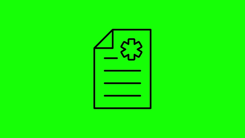 British document line icon animation on the green screen background.4K video.Chroma key.Useful for website, banner, greeting cards, apps, and social media posts. | Shutterstock HD Video #1061010466