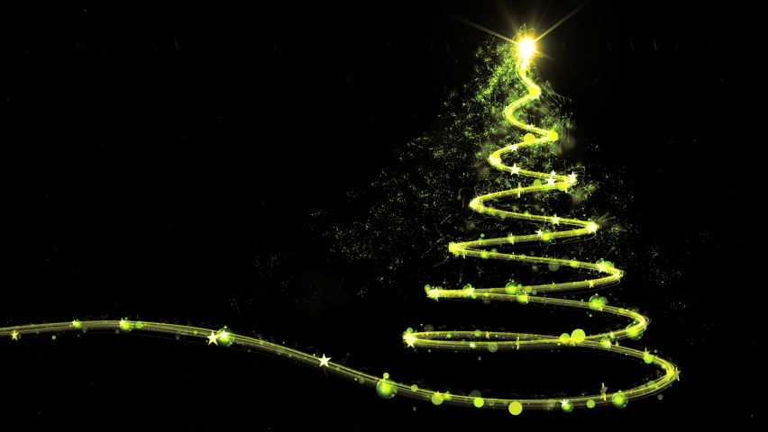 Glowing green Christmas tree animation with light and particles on black. 4k | Shutterstock HD Video #1061014243