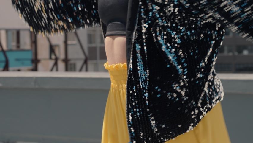 Dancing woman latin dancer on rooftop beautiful brazilian woman performing dance moves in city | Shutterstock HD Video #1061018755