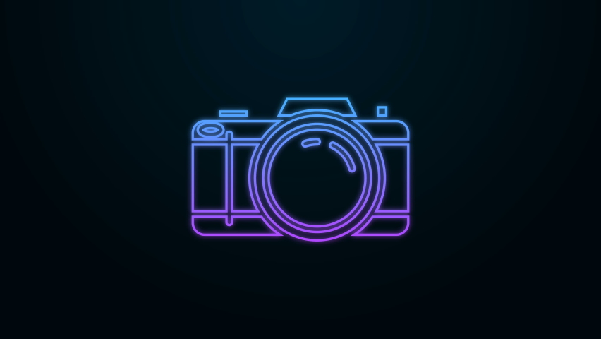 Glowing neon line Photo camera icon isolated on black background. Foto camera icon. 4K Video motion graphic animation | Shutterstock HD Video #1061018980
