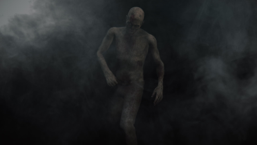 Animation of the appearance of a zombie  from the darkness. Horror scene or Halloween decoration.   Shutterstock HD Video #1061021170