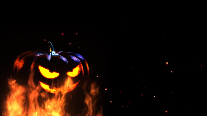 Scary Halloween Pumpkin Is On Fire 3D Seamless Loop 4K Animation. Burning Halloween pumpkin in the fire. glowing light inside of carved pumpkin. | Shutterstock HD Video #1061028799