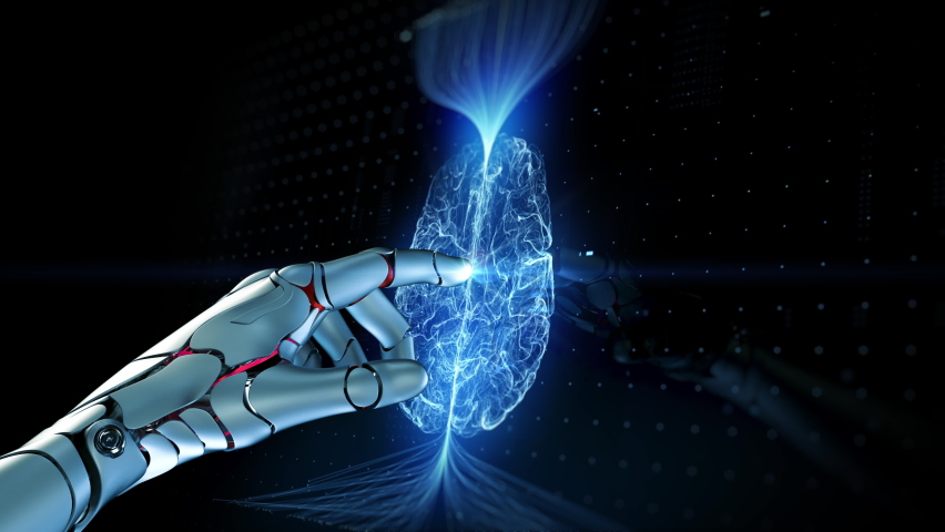 Close-up Artificial Intelligence Concept: Robot Arm Touch Screen Button and Activate Futuristic Web Quantum AI. 3D Visualization of Computer Technology and Digitalization Brain Abstract HUD Animation | Shutterstock HD Video #1061042062