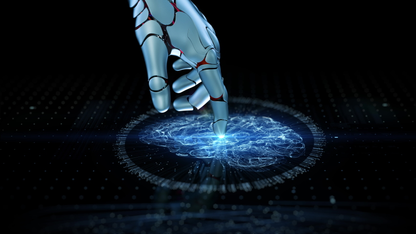Close-up Artificial Intelligence Concept: Robot Finger Touch Screen Connection and Activate Futuristic Web Quantum AI. 3D Visualization Computer Technology Machine Learning, Digitalization Brain HUD Royalty-Free Stock Footage #1061042371
