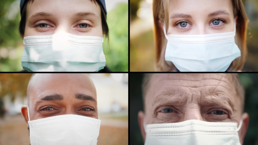 Collage of diverse faces people in protective face masks. People of different ages and races. Multinational group of people in medical mask masks.