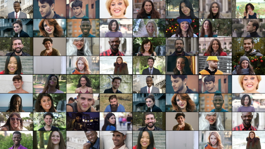 multiscreen of multiethnic people smiling at camera Royalty-Free Stock Footage #1061047747