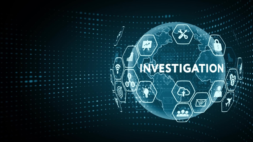 Business, Technology, Internet and network concept. Virtual button labeled: Investigation Royalty-Free Stock Footage #1061050840