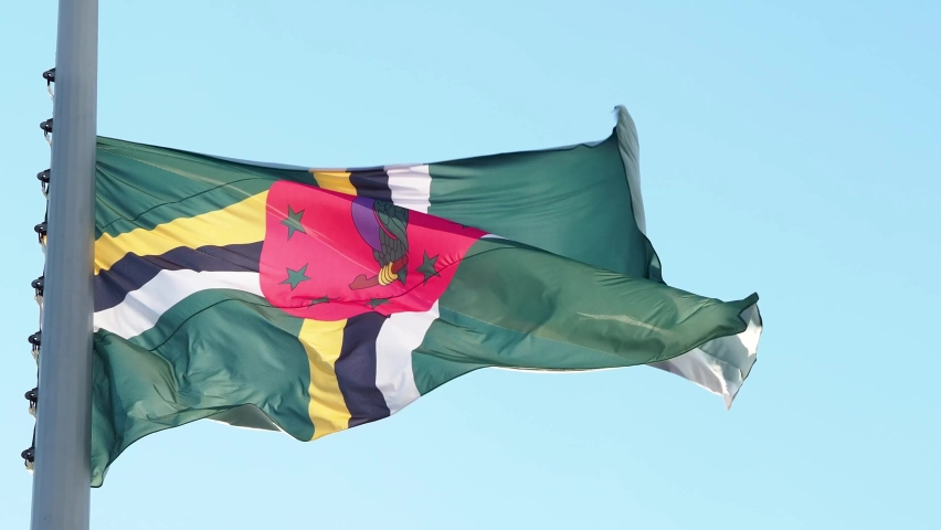 Dominica flag fluttering in the wind. National flag against a blue sky, high flagpole #1061053180