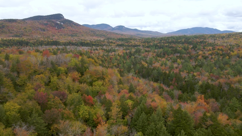 Breathtaking Scenic Landscape of New England Forest Colors in the Fall. Aerial Drone Flying View