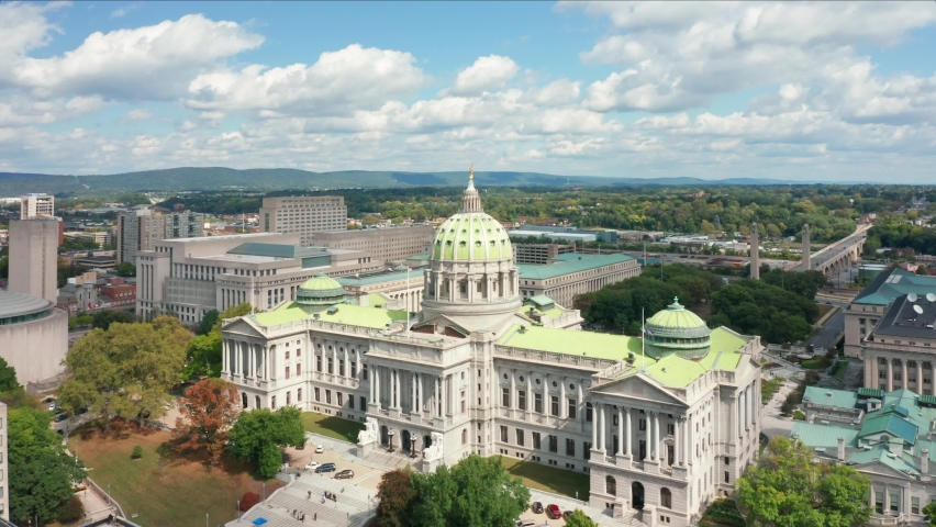 Aerial view of Harrisburg skyline, with slow camera rotation around the Pennsylvania State Capitol