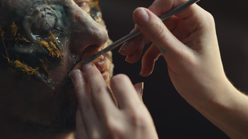 Makeup Artist Doing Man Stock