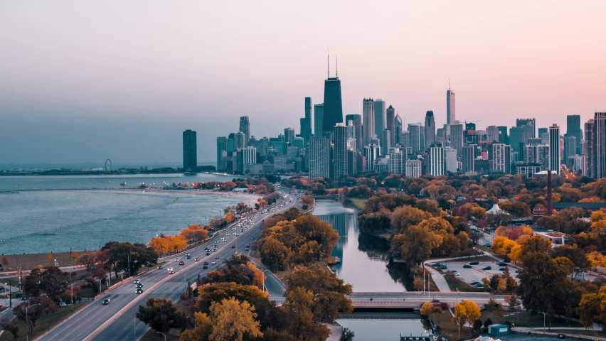 Fall Colors in Chicago - Aerial Shot Royalty-Free Stock Footage #1061082547
