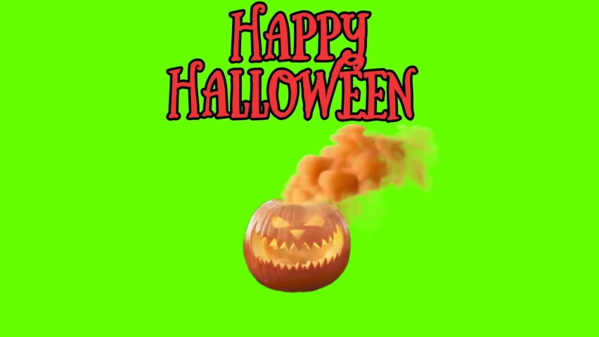 Happy Halloween Text and Carved Halloween Pumpkin With Smoke  4K animation isolated on Green screen background - ( Endless loop ). Smoke Billowing Face Of Halloween Pumpkin. Scary Halloween Pumpkin.  | Shutterstock HD Video #1061086363
