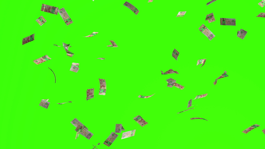 Animation of 100 canadian dollars bills falling on green screen or chroma key, concept of business success, rich, millionaire, lottery and abundance. Money rain 3D background in 4k.