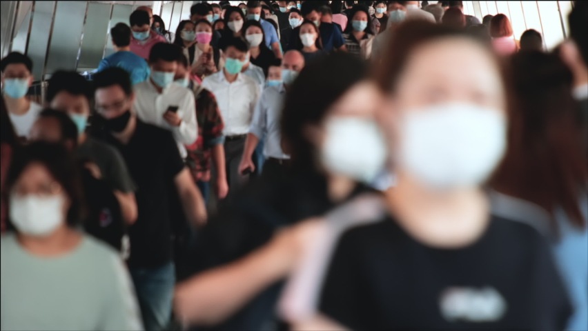 Timelapse of unrecognized people wearing medical face masks in Hong Kong. Coronavirus concept | Shutterstock HD Video #1061088520