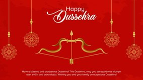 Video of bow and arrow in Happy Dussehra festival of India