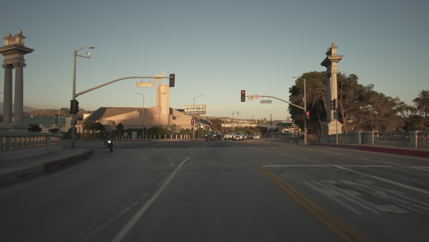 Los Angeles Downtown Broadway Bridge Southbound Sunset Time Lapse Driving Rear View